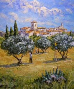 Récolte olives, peinture