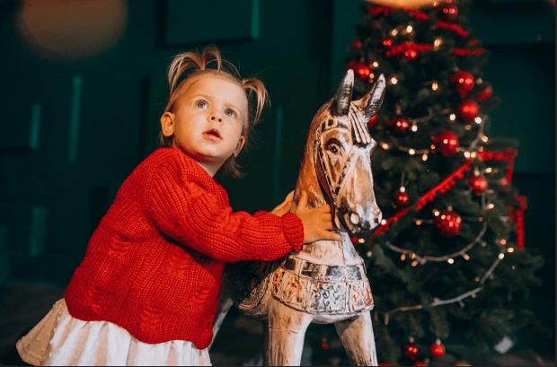 Bébé cheval en bois Cadeau de Noël,