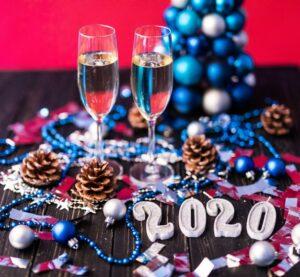 Réveillon de Noël coupe de champagne,