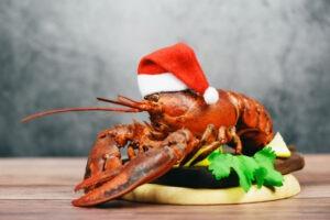 Homard rouge plat réveillon de Noël,