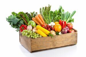 Cageot de légumes anciens