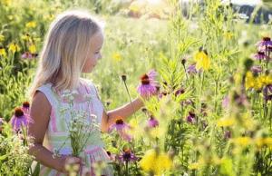 Jeune fille cueille des fleurs