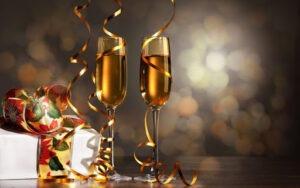 Verres à champagne, réveillon de Noël,
