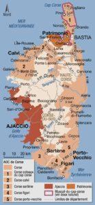 Carte géographique appellations Vins Corse,