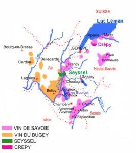 Carte gégraphique AOC Vins de Savoie,