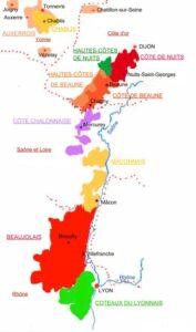 Carte géographique Appelation Bourgogne