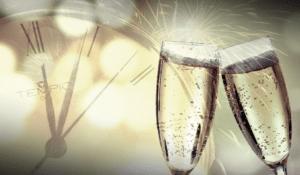 Nouvelle année 2021, coupes de champagne,