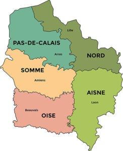La carte des Hauts de France,